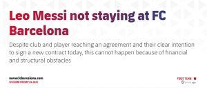 Nóng - Chính thức Messi rời Barcelona
